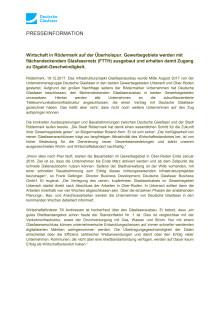 Wirtschaft in Rödermark auf der Überholspur. Gewerbegebiete werden mit flächendeckendem Glasfasernetz (FTTH) ausgebaut