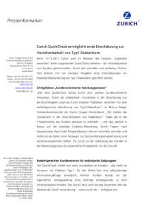 Zurich QuickCheck ermöglicht erste Einschätzung zur Versicherbarkeit von Typ1-Diabetikern
