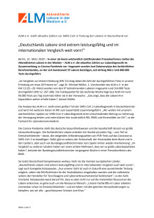 Pressemitteilung ALM e.V. - Aktuelle Zahlen zu SARS-CoV-2 Testung