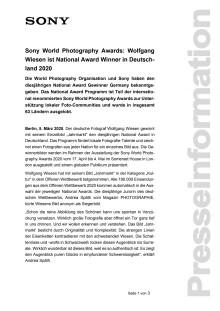 Sony World Photography Awards: Wolfgang Wiesen ist National Award Winner in Deutschland 2020