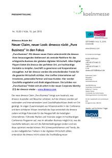 """Neuer Claim, neuer Look: dmexco rückt """"Pure Business"""" in den Fokus"""