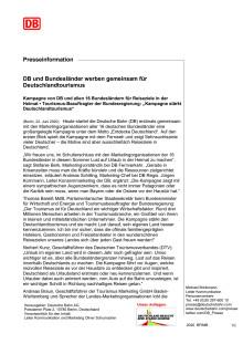 DB und Bundesländer werben gemeinsam für Deutschlandtourismus