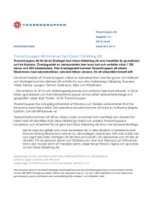 ThorenGruppen AB förvärvar Karl-Oskar Utbildning AB