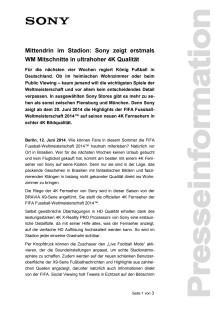 Mittendrin im Stadion: Sony zeigt erstmals WM Mitschnitte in ultrahoher 4K Qualität