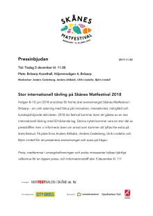Pressinbjudan - Stor internationell tävling på Skånes Matfestival 2018