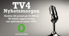 TV4 Nyhetsmorgon vann pris för bästa rapportering om självmord 2015