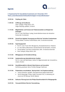 Agenda 3. Expertenzirkel für Gesundheitsinvestments