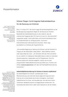 Sicherer fliegen: Zurich begrüsst Kabinettsbeschluss für die Nutzung von Drohnen