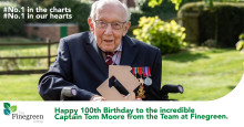 Happy 100th Birthday to the incredible Captain Tom Moore from the Team at Finegreen.