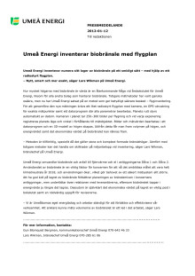 Umeå Energi inventerar biobränsle med flygplan