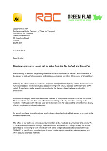 Joint letter to Roads Minister Jesse Norman on slow down, move over