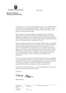 Stödbrev till CDP från näringsminister Maud Olofsson