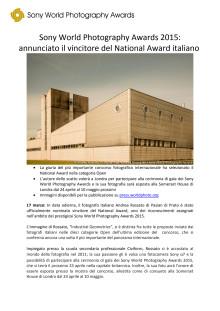 Sony World Photography Awards 2015: annunciato il vincitore del National Award italiano