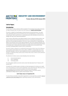 Call for Papers Arctic Frontiers 2016