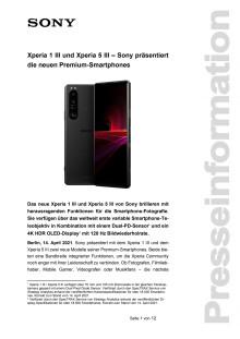 Xperia 1 III und Xperia 5 III - Sony präsentiert neue Premium-Smartphones