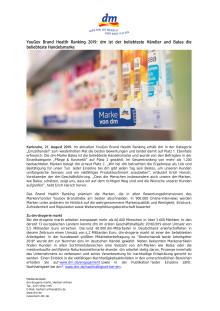 YouGov Brand Health Ranking 2019: dm ist der beliebteste Händler