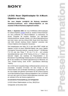LA-EA5: Neuer Objektivadapter für A-Mount-Objektive von Sony