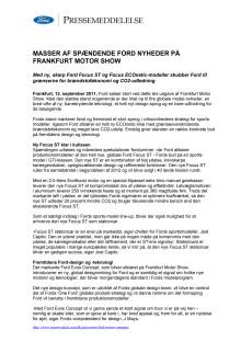 FORD GIVER DEN GAS PÅ FRANKFURT MOTOR SHOW