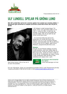 Ulf Lundell till Gröna Lund