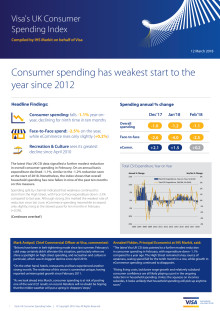 Visa UK CSI - Consumer spending has weakest start to the year since 2012
