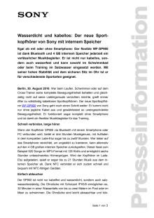 Wasserdicht und kabellos: Der neue Sportkopfhörer von Sony mit internem Speicher