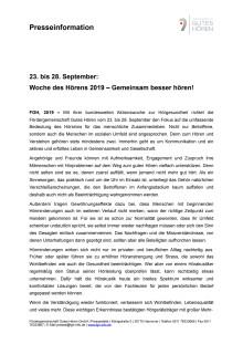 Woche des Hörens 2019 vom 23. – 28. September – Gemeinsam besser hören!