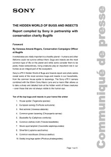 The Hidden World Of Bugs And Insects: Report compiled by Sony in partnership with conservation charity Buglife