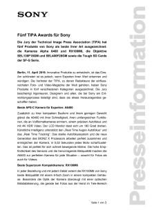 Fünf TIPA Awards für Sony
