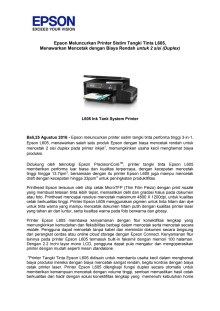 Epson Meluncurkan Printer Sistim Tangki Tinta L605, Menawarkan Mencetak dengan Biaya Rendah untuk 2 sisi (Duplex)
