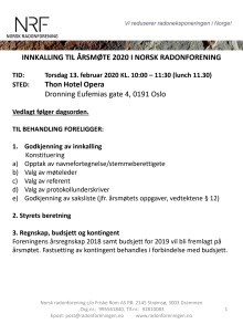 Innkalling Årsmøte Norsk Radonforening 2020