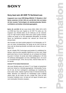 Sony baut sein 4K HDR TV Sortiment aus