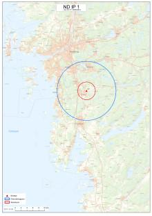 Karta över området med skydds- och övervakningsområde