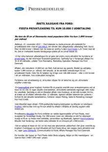 ÅRETS JULEGAVE FRA FORD: FIESTA PRIVATLEASING TIL KUN 10.000 KRONER I UDBETALING