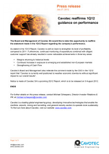 Cavotec reaffirms 1Q12 guidance on performance