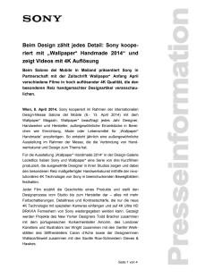 """Pressemitteilung """"Beim Design zählt jedes Detail: Sony kooperiert mit """"Wallpaper* Handmade 2014"""" und zeigt Videos mit 4K Auflösung"""""""