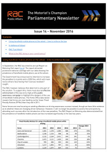 RAC Parliamentary Newsletter #14 - November 2016