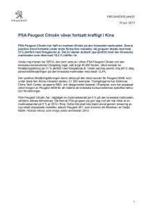PSA Peugeot Citroën växer fortsatt kraftigt i Kina