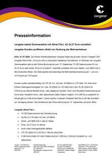 congstar startet Sommeraktion mit Allnet Flat L für 24,37 Euro monatlich