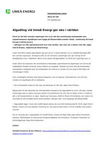 Algodling vid Umeå Energi ger eko i världen