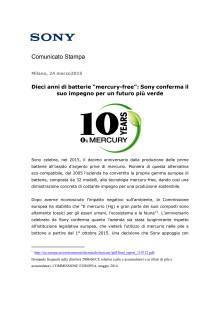 """Dieci anni di batterie """"mercury-free"""": Sony conferma il suo impegno per un futuro più verde"""