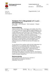 Tjänsteskrivelse för Margretedal