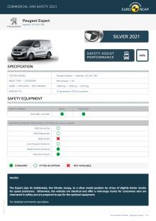 Euro NCAP Commercial Van Testing - Peugeot Expert datasheet