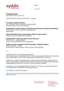 Kuopion Sydänsoteriihi 30.10.2017, ohjelma