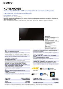Datenblatt BRAVIA KD-65X9005B von Sony