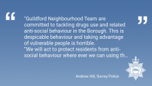Partial Closure Order issued on Guildford address after anti social behaviour
