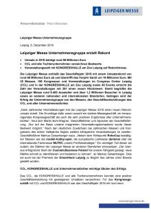 Pressemitteilung: Leipziger Messe Jahresabschluss 2016
