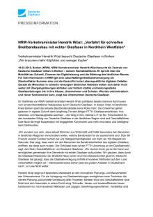 """NRW-Verkehrsminister Hendrik Wüst: """"Vorfahrt für schnellen Breitbandausbau mit echter Glasfaser in Nordrhein Westfalen"""""""