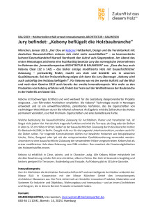 """BAU 2019: Kebony gewinnt erneut Innovationsspreis """"ARCHITEKTUR + BAUWESEN"""""""