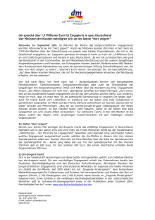 Pressemitteilung: dm spendet über 1,9 Millionen Euro für Engagierte in ganz Deutschland