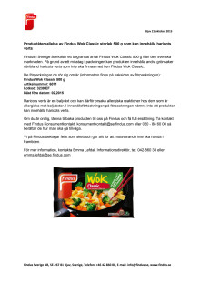 Produktåterkallelse av Findus Wok Classic storlek 500 g som kan innehålla haricots verts